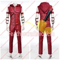 *Those items are handmade to order  *What you will receive Vest, Hood,Pants, Quiver,Arm Accessories  Measurement of your size Costume is