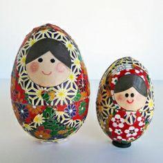 Turn plain old plastic eggs into Matryoshka nesting dolls.