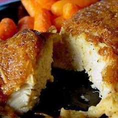 MELT IN YOUR MOUTH CHICKEN  And it's Healthy…so much better than fried!!!  4 boneless chicken breast  ½ cup parmesan cheese  1 cup Greek yogurt-plain  1 tsp garlic powder  1 & ½ tsp seasoning salt  ½ tsp pepper  Spread mixture over chicken breasts, bake  At 375 degrees for 45 minutes