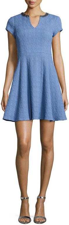 Pin for Later: 31 Stylish Gifts to Give the Girl Obsessed With Pantone's Colors of the Year  Nanette Lepore Short-Sleeve Textured Fit & Flare Dress ($378)