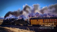 The Durango Silverton Steam Engine 480 pulls out of Durango en route to the Silverton, Colorado Station on a Winter day.