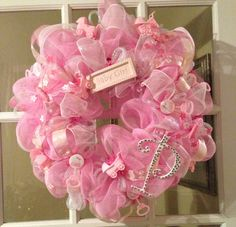 """Personalized baby girl wreath!! Baby Girl """"Piper"""""""