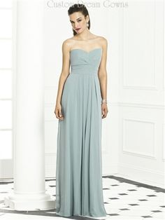 Beautiful Lux Chiffon Sheath Gown with a Sweetheart Neckline, Pleated Empire Waist, Pleated Chiffon Sheath Skirt (Available in 3 Lengths), Linear Back with Hidden Zipper Closure. #bridesmaid #bridesmaiddress #custombridesmaiddress #custombridalpartydress #straplessbridesmaid #chiffonbridesmaid #longbridesmaiddress #beautifulbridesmaiddress #wedding #popularbridesmaiddress