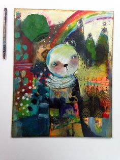 Whimsical Mixed Media Art  Search For Light  an by juliettecrane, $155.00