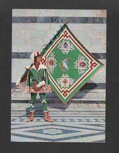 Pc 1960ys ITALY ITALIA SIENA HISTORICAL FLAG FLAGS CONTRADE DELL OCA