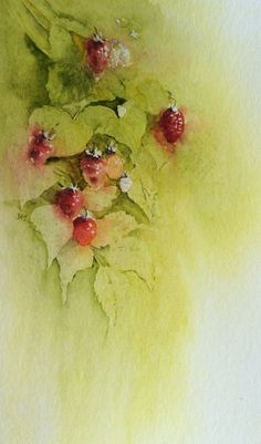 Raspberries, negative painting. Judith Jerams, Loire Valley, France