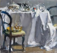 """""""Table, Chair and Tray"""" Maggie Siner 28"""" x 30"""" Oil #art #artwork #artist #creative #decoration #fineart #oil #oilpainting #oiloncanvas #brazier gallery #painting #paint #painter #maggiesiner #siner #table #chair #tray #dinner #dining #wineglass #diningroom #interior #tablecloth"""