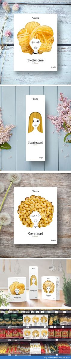 Creative Packaging Uses Pasta As Hairstyles