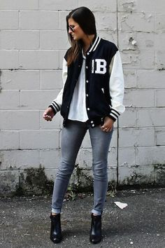 Tilden B wears a varsity inspired look with letterman bomber jacket and skinny jeans Hipster Stil, Style Hipster, Hipster Fashion, Look Fashion, Mode Outfits, Casual Outfits, Fashion Outfits, Sneakers Fashion, Fashion Tips