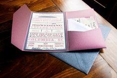 Wedding Invitations, Vintage Playbill Typography invitations, Rustic, Natural Purple Wedding Invitations. $1.00, via Etsy.