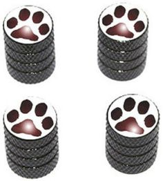"Amazon.com : (4 Count) Cool and Custom ""Diamond Etching Paw Print Top with Easy Grip Texture"" Tire Wheel Rim Air Valve Stem Dust Cap Seal Made of Genuine Anodized Aluminum Metal {Chic Toyota Black and Brown Colors - Hard Metal Internal Threads for Easy Application - Rust Proof - Fits For Most Cars, Trucks, SUV, RV, ATV, UTV, Motorcycle, Bicycles} : Sports & Outdoors"