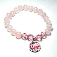 Pale pink rose quartz gemstone bracelet is made with 8mm Rose Quartz, Pink…
