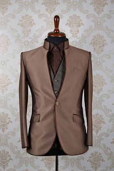 Metallic #brown italian slim fit fashionable #suit with mandarin #collar -ST373