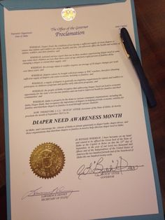 Idaho Governor Butch Otter's proclamation recognizing Diaper Need Awareness Week (Sept. 28 - Oct. 4, 2015) #DiaperNeed www.diaperneed.org