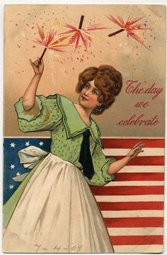 Fourth of July vintage postcard patriotic firecrackers #redwhiteandblue #vintage #julyfourth