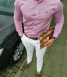 Esrilo Pantalon Blanco Zapatos marron