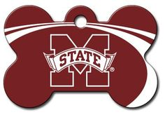 Personalized Laser Engraved 15 x 1 inch Mississippi State Bulldogs Bone Shape Pet ID Tag Free Tag Silencer * Check out this great product.
