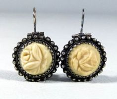 19C.VICTORIAN SILVER FILIGREE EARRINGS OX BONE HAND CARVED ROSES JEWELRY