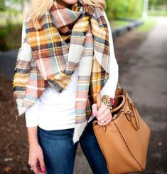 plaid yellow scarf, Stylish scarves and snoods for winter http://www.justtrendygirls.com/stylish-scarves-and-snoods-for-winter/