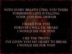 Lyrics from one of my favorite Black Veil Brides songs