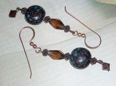 Brown And Blue Earrings Copper Sparkle Dangle Earrings Crystal Earrings Brown Dangle Earrings Copper Earrings by UnikButikJewelry on Etsy