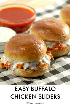 Buffalo Chicken Cheese Sliders – Must Love Home Start your party right with chicken sliders oozing with melted cheese and homemade buttermilk ranch dressing. Homemade Buttermilk, Buttermilk Ranch, Appetizer Recipes, Dinner Recipes, Sandwich Recipes, Appetizer Sandwiches, Appetizers, Buffalo Chicken Sandwiches, Buffalo Chicken Burgers