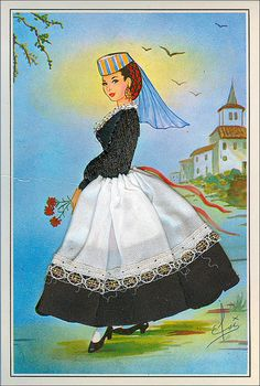 Costumi Regionali d'Italia - ABRUZZO #TuscanyAgriturismoGiratola Culture Day, Rare Species, Reference Images, Folk Costume, Western Outfits, Indian Art, Vintage Cards, Traditional Dresses, Vintage Postcards