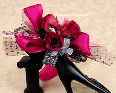 Prom Corsage - corsage, Hot pink and black -  bling corsage- dance corsage- wrist corsage. wristlet. $22,00, via Etsy.