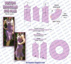 KiVita MoYo : VESTIDO IRREGULAR CON OLAN Easy Sewing Patterns, Doll Clothes Patterns, Sewing Clothes, Vintage Patterns, Clothing Patterns, Dress Patterns, Diy Clothes, Fashion Sewing, Diy Fashion