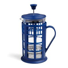 ThinkGeek has created a French press that looks like a cylindrical version TARDIS belonging to Doctor Who. While the Doctor would probably prefer tea over