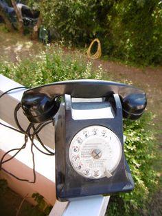 """Téléphone ancien en bakélite""""ERICSON""""appareil mobile B.C.I à voir!"""