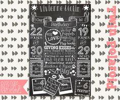 Chalkboard Birthday Poster Printable / DIGITAL / Twin Polaroid / Polaroid Party / Twins First Birthday / Twins Birthday / Twins Party Chalkboard Designs, Chalkboard Poster, Twin First Birthday, First Birthday Chalkboard, Twins 1st Birthdays, Popular Birthdays, Party Time, Polaroid, Custom Design