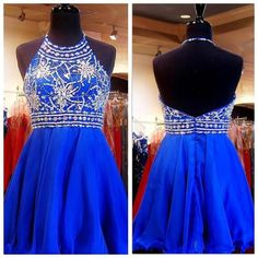 Beaded Royal Blue Homecoming Dresses,Short Prom Dresses, 2016 Cute Homecoming…