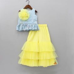 Pre Order: Blue Peplum Top With Yellow Sharara Girls Frock Design, Kids Frocks Design, Baby Frocks Designs, Baby Dress Design, African Dresses For Kids, Dresses Kids Girl, Kids Outfits, Kids Dress Wear, Kids Gown