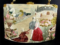 Vintage SILK PETIT POINT Satin Damask Stitch Embroidered FRENCH Purse
