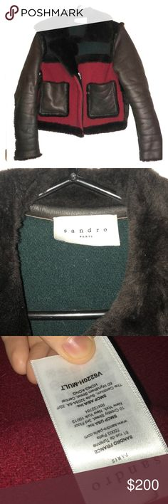 Lightly worn Sandro jacket. Sandro jacket with dark brown rabbit fur collar and fur lined leather sleeves. Body consists of dark green and dark red wool felt with rabbit fur trim, has fur lined leather patch pockets. Lightly worn and super warm! Sandro size 1 which roughly translates to US 0-2. Retails for about $1500. Sandro Jackets & Coats