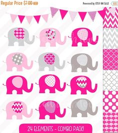 Items similar to Hot Pink Elephant Clip Art Combo Pack - Baby Elephant - Hot Pink adn Grey - Digital Papers - Bunting and Flags - Invitation Illustrations on Etsy Cool Baby Girl Names, Make Your Own Invitations, Paper Bunting, Baby Girl Crochet, Pink Elephant, Boy Birthday Parties, Blog Design, Baby Shower Invitations, Wall Decals