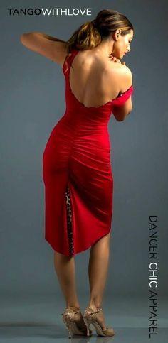 Tango Dress with sexy print pleat insert. Red Colour Dress, Baile Latino, Tango Dress, Argentine Tango, Latin Dance Dresses, Ballroom Dress, Dance Fashion, Feminine Dress, Dance Outfits