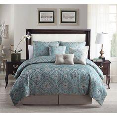 7-Piece Alberson Print Comforter Set Teal, Queen, Blue
