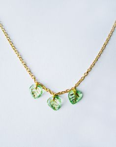 Leaf It To Me Glass Vintage Leaves Necklace — Eclectic Eccentricity Vintage Jewellery