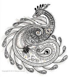 Zentangle - Paisley Peacock, © Glenys Looney. | zentangles
