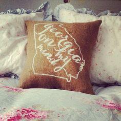 "Burlap Pillow - ""Georgia on My Mind"" song lyrics - Georgia Pillow  - Custom Made to Order on Etsy, $29.00"