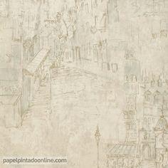 Papel Pintado Paris RS70707 con fondo en tonos de beige y dibujos de las calles de París, con los dibujos de los edificios delineados en tonos de marrón y sombras en tonos de azul grisáceo.