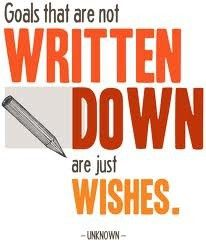 Guess I better write down my goals because I want them to be more than just wishes...