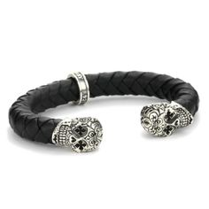 Amazon.com: King Baby Men's Day of the Dead Skull Leather Cuff Bracelet: Jewelry