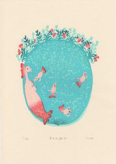 版画アマビエ特別頒布プロジェクト 2020 ab03  伊藤亜矢美 Ayami ITO 甘える遊ぶ  水性木版 20×17cm ed 40 2020 Little Christmas, Ayami, Mermaid, Japanese, Projects, Prints, Log Projects, Blue Prints, Japanese Language