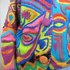 Colorful Vintage Wearable Art Cardigan