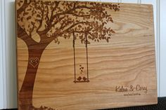 Personalized Cutting Board Swing and Birds Custom Wedding Anniversary Kitchen Art Housewarming Bridal Shower Valentine Gift by EngrainedMemories on Etsy https://www.etsy.com/listing/179104533/personalized-cutting-board-swing-and