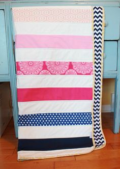 Modern Baby QUILT by PETUNIAS - navy white hot pink strip stripe blanket nursery decor vintage newborn shower gift room crib bedding Old Quilts, Baby Quilts, Sky Nursery, Nursery Ideas, Room Ideas, Navy Crib Bedding, Vintage Nursery Decor, Car Seat Blanket, Navy And White