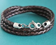 Mens Leather Bracelet Rustic Natural Light by LynnToddDesigns